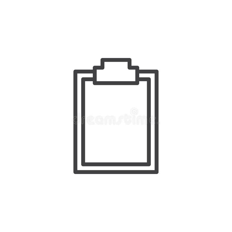 Linha vazia ícone da prancheta, sinal do vetor do esboço ilustração do vetor