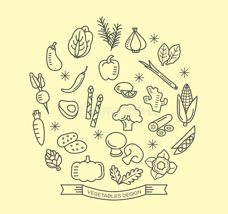 A linha vegetal ícones com estilo do esboço projeta elementos ilustração royalty free