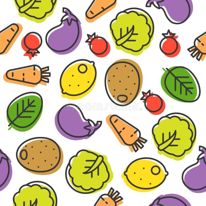 Linha vegetal colorida teste padrão sem emenda, couve chinesa, eggpl ilustração do vetor