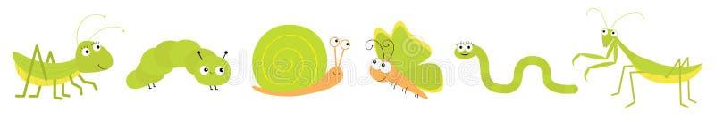 Linha verde do grupo do ícone do inseto Louva-a-deus que reza, gafanhoto, borboleta, lagarta, caracol, sem-fim Car?ter engra?ado  ilustração royalty free