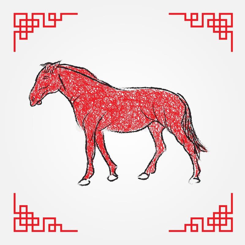 Linha vermelha arte do desenho da tinta, zodíaco do cavalo ilustração royalty free