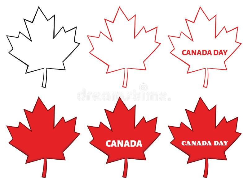 Linha vermelha canadense desenho da folha de bordo dos desenhos animados coleção ilustração royalty free