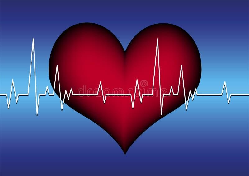 Linha vermelha do coração e do cardiogram ilustração do vetor