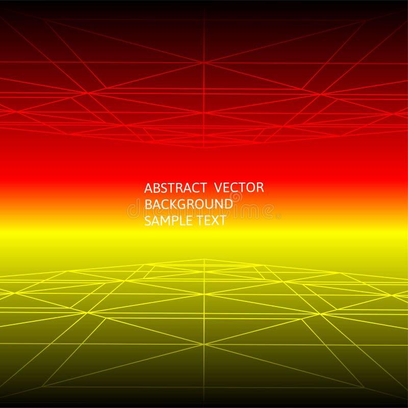 Linha vermelha e amarela abstrata fundo poligonal geométrico ilustração royalty free