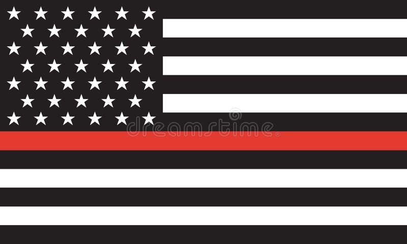 Linha vermelha fina sapador-bombeiro Flag Vetora ilustração royalty free
