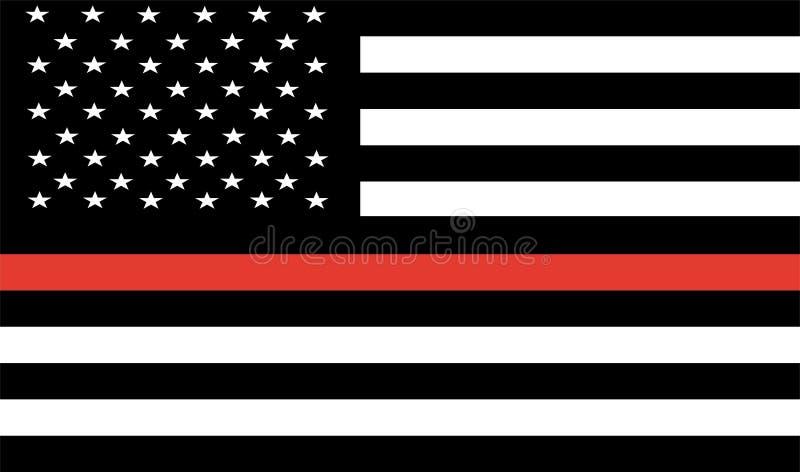 Linha vermelha fina sapador-bombeiro Flag Vetora Bandeira dos EUA fotografia de stock royalty free