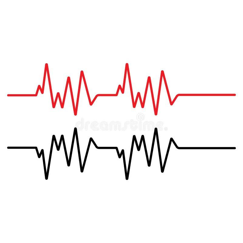 Linha vermelho do pulso do molde do vetor do ilustration ilustração stock