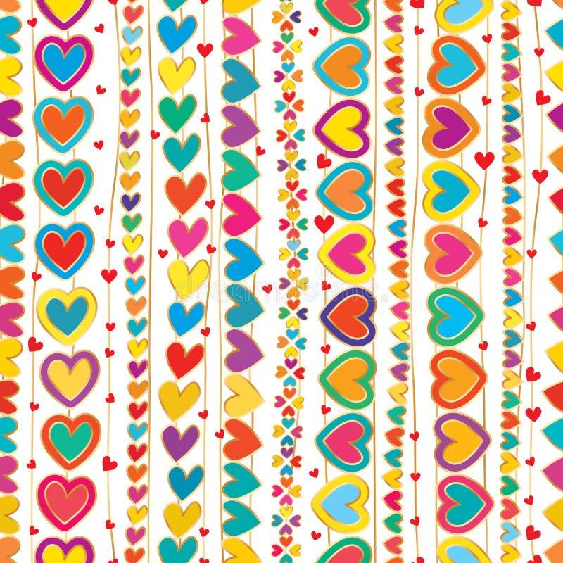 Linha vertical teste padrão sem emenda da tração da mão do amor ilustração do vetor