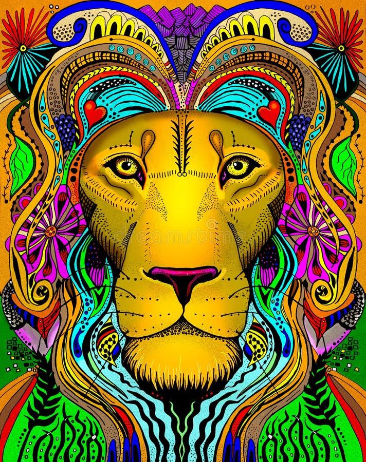Linha vestido principal primitivo do leão da arte ilustração do vetor