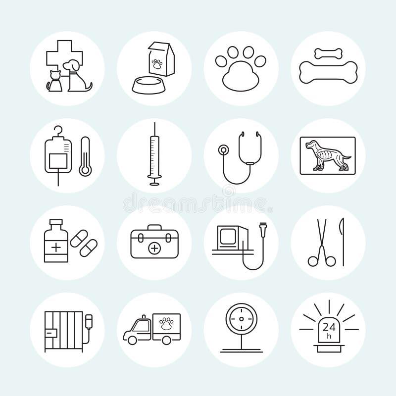 Linha veterinária ícones ajustados ilustração stock