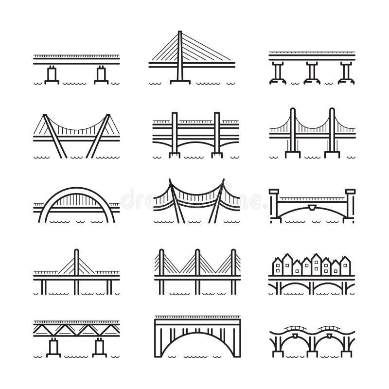 Linha vetor ajustado da ponte do ícone ilustração do vetor
