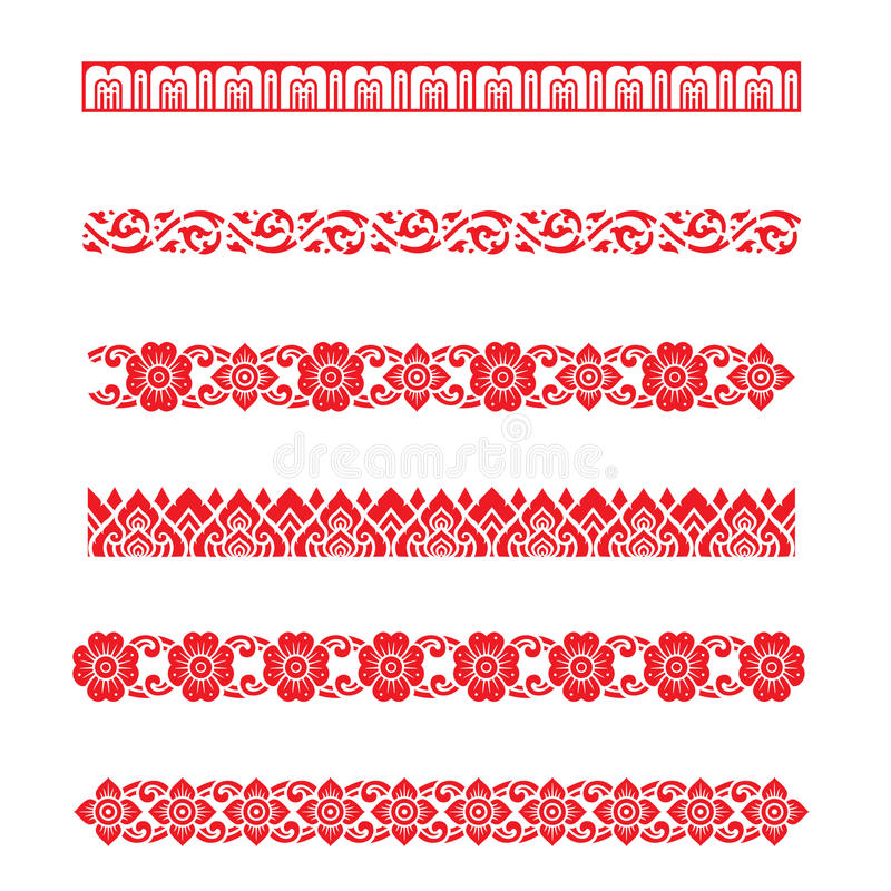 Linha vetor asiático do projeto da arte tradicional do teste padrão, projeto tradicional tailandês (teste padrão de Lai Thai) ilustração stock
