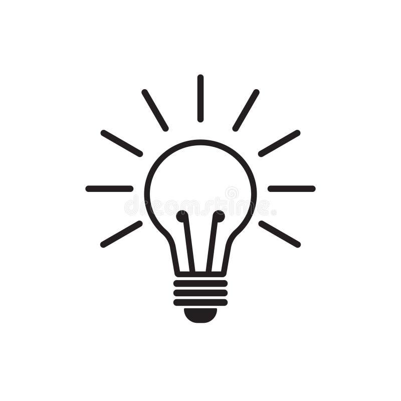 Linha vetor da ampola do ícone, isolado no fundo branco Ícone da ideia, sinal da ideia, solução, conceito de pensamento ilustração royalty free