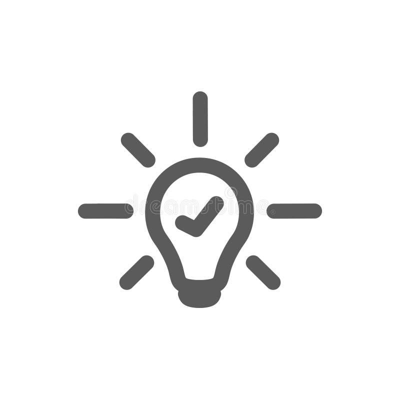 Linha vetor da ampola do ícone, isolado no fundo branco Sinal da ideia, solução, conceito de pensamento Iluminando a lâmpada elét ilustração stock