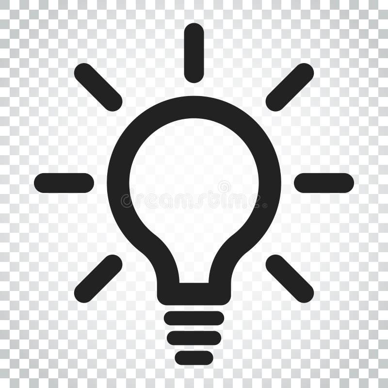 Linha vetor da ampola do ícone Lâmpada elétrica no estilo liso Ideia s ilustração royalty free