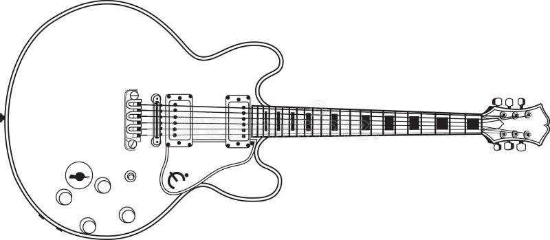 Linha vetor da guitarra do som da música imagem de stock royalty free