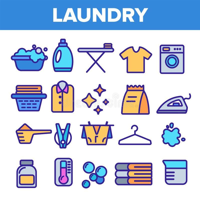 Linha vetor da lavanderia do grupo do ?cone M?quina de lavar Algod?o seco limpo Pictograma da lavanderia de pano Ilustra??o fina  ilustração do vetor