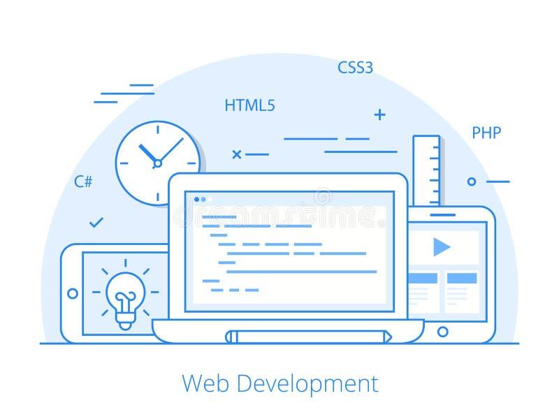 Linha vetor de programação do desenvolvimento liso da site ilustração do vetor