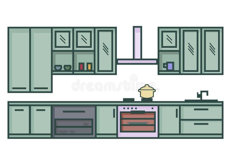 Linha vetor moderno da cozinha da ilustração da arte ilustração royalty free
