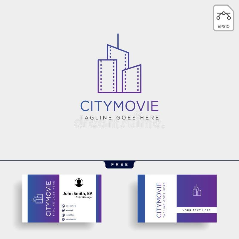 linha video elemento simples do cinema do filme da cidade do ícone da ilustração do vetor do molde do logotipo ilustração stock