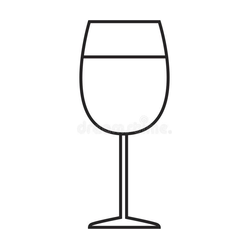 Linha vidro do ícone do vinho ilustração stock