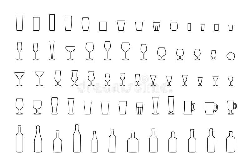 Linha vidros e garrafas da barra dos ícones Vetor ilustração do vetor