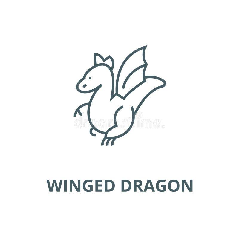 Linha voada ícone do vetor do dragão, conceito linear, sinal do esboço, símbolo ilustração royalty free