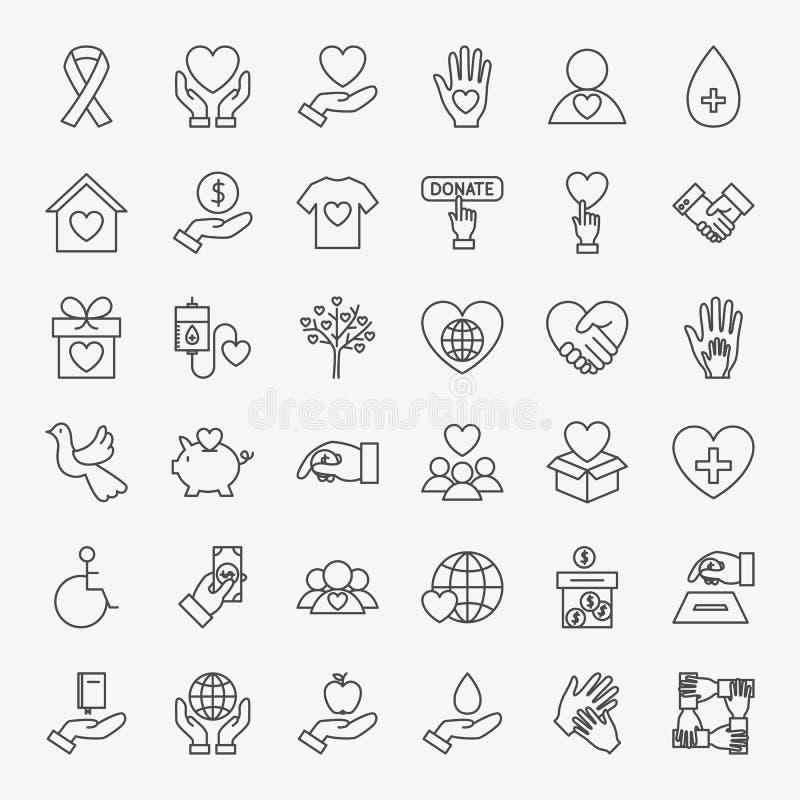 Linha voluntária ícones da doação ajustados ilustração do vetor