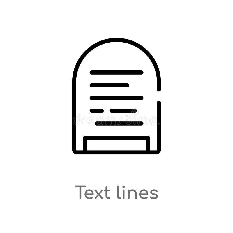 linhas ícone do texto do esboço do vetor linha simples preta isolada ilustra??o do elemento do conceito de uma comunica??o Curso  ilustração stock