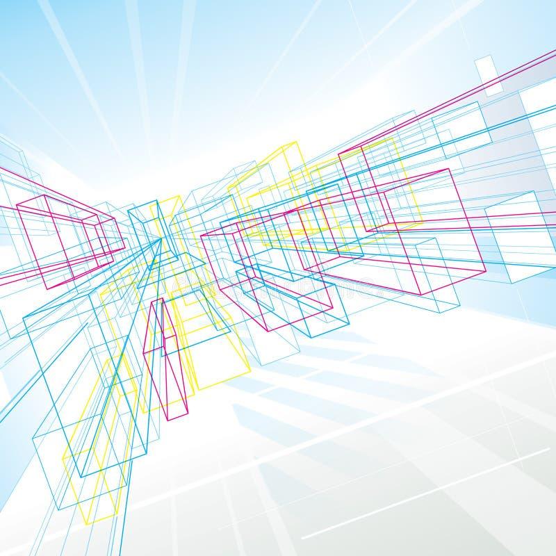 Linhas abstratas da perspectiva ilustração stock