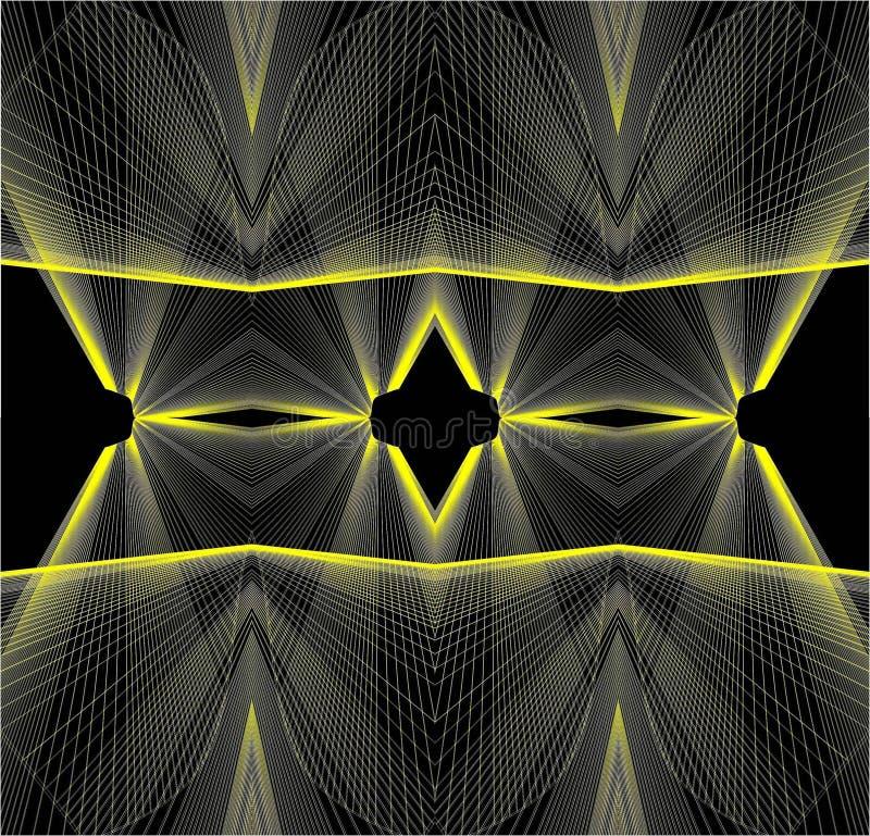 Linhas amarelas e testes padrões em um fundo preto ilustração stock