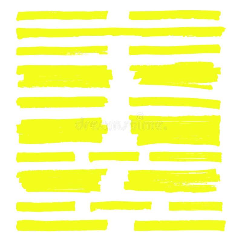 Linhas amarelas tiradas mão do marcador do destaque Cursos do highlighter isolados no grupo branco do vetor do fundo ilustração stock