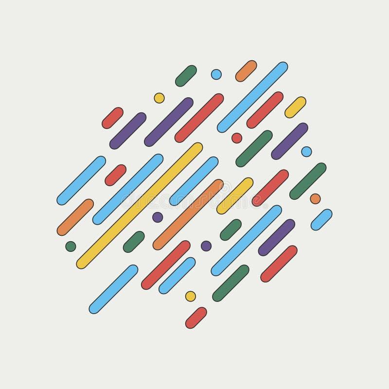 Linhas arredondadas dinâmicas geométricas Fundo colorido abstrato ilustração royalty free