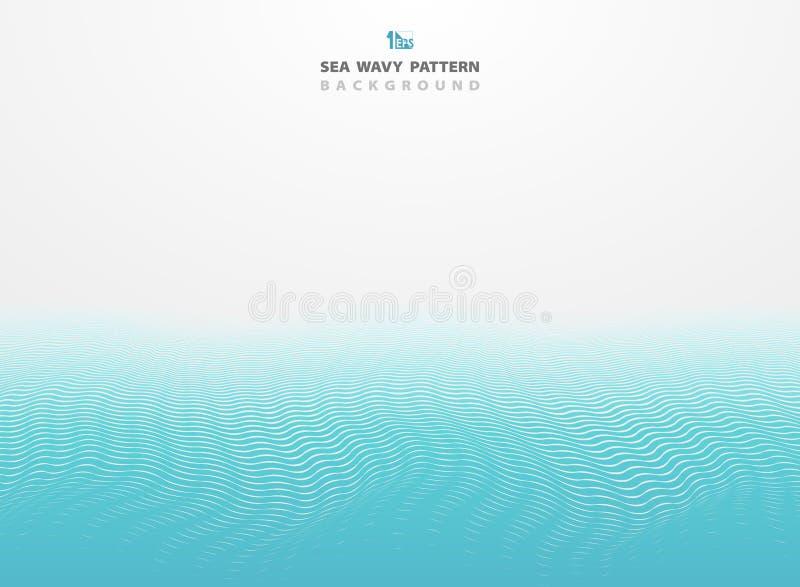 Linhas azuis abstratas fundo da listra do teste padrão ondulado do mar Você pode usar-se para o anúncio, cartaz, folheto, molde,  ilustração royalty free