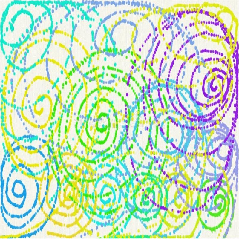 Linhas azuis amarelas e verdes do fundo branco abstrato e e pontos sob a forma da mancha das flores da pintura derramada ilustração do vetor