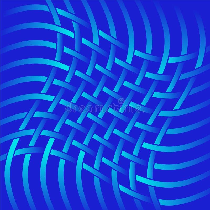 Linhas azuis da torção de matéria têxtil da rede isoladas em um fundo vermelho ilustração do vetor