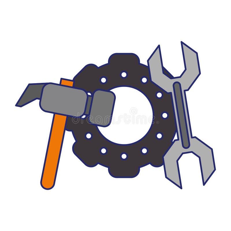 Linhas azuis das engrenagens e das ferramentas ilustração do vetor