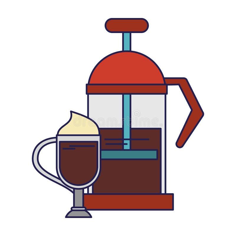 Linhas azuis do equipamento manual do coffeeshop do fabricante de café ilustração do vetor