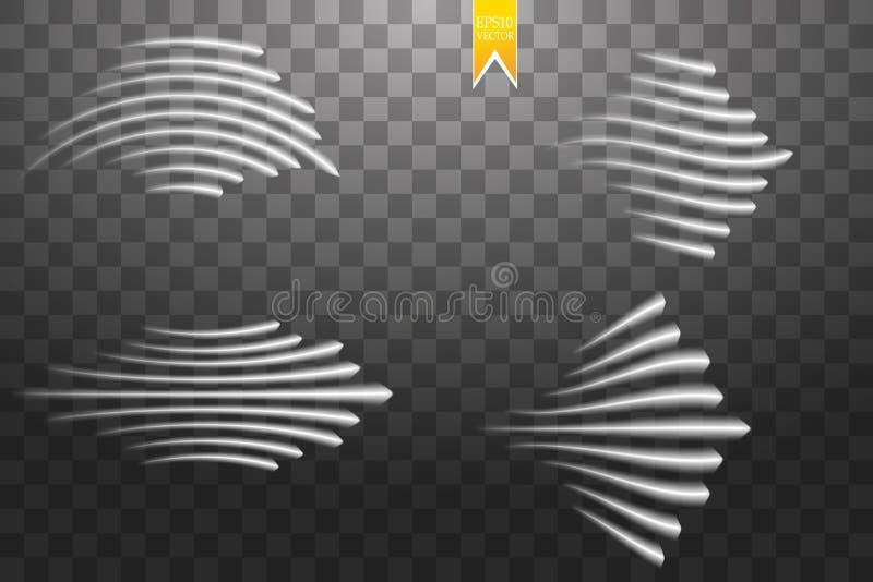 Linhas azuis do fulgor da velocidade isoladas Grupo de sinais do movimento Ilustração do vetor ilustração royalty free