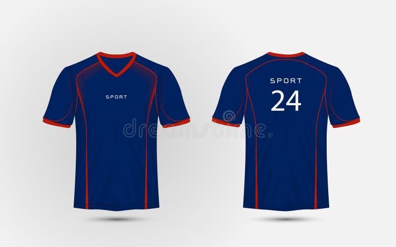 Linhas azuis e vermelhas t-shirt do esporte do futebol da disposição, jogos, jérsei, molde do projeto da camisa vetor da ilustraç ilustração do vetor