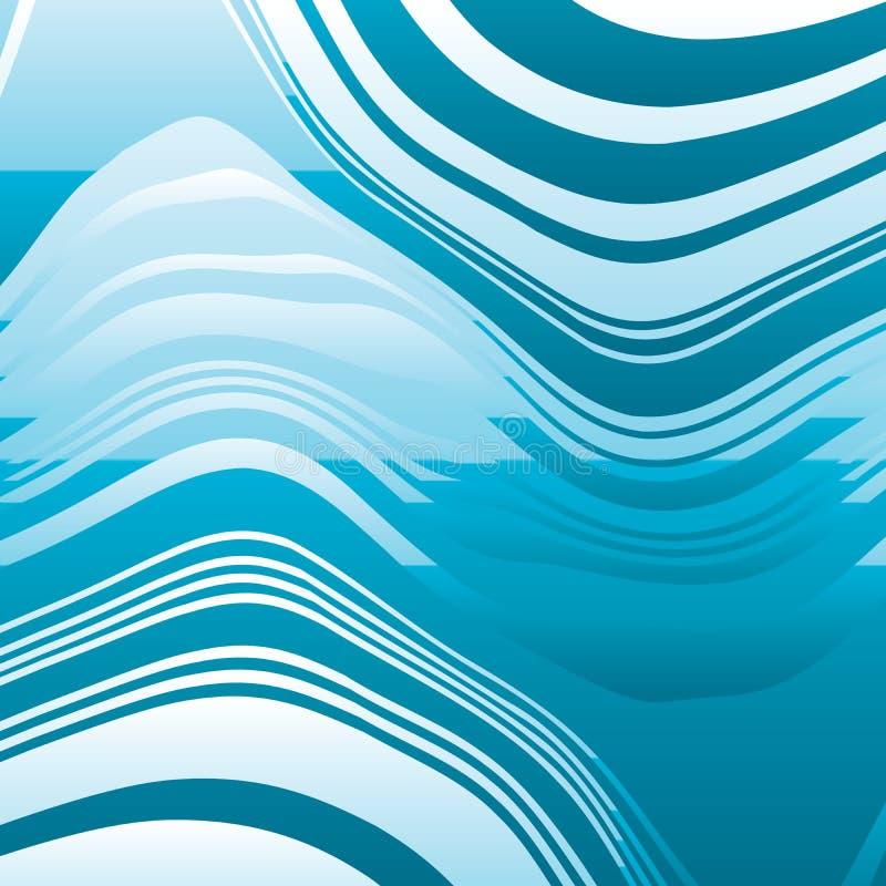 Linhas azuis entortadas sumário fundo ilustração stock
