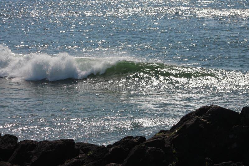 Linhas azuis espumar de ondas verdes da espuma fotografia de stock