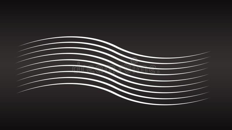 Linhas brancas abstratas fundos Linhas geométricas no fundo preto Linha contexto da onda fotos de stock royalty free