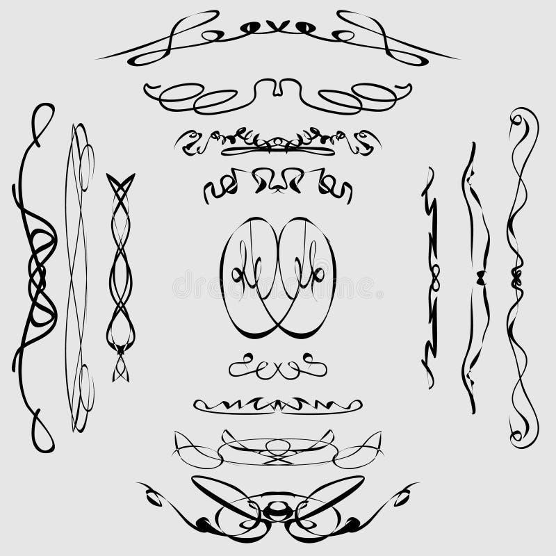 Linhas caligráficas imagens de stock