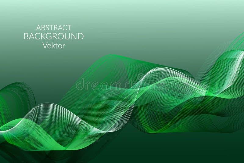 Linhas claras onduladas do fundo do sumário em um elemento verde do projeto do fundo para anunciar o vetor dos cartões dos cartaz ilustração royalty free