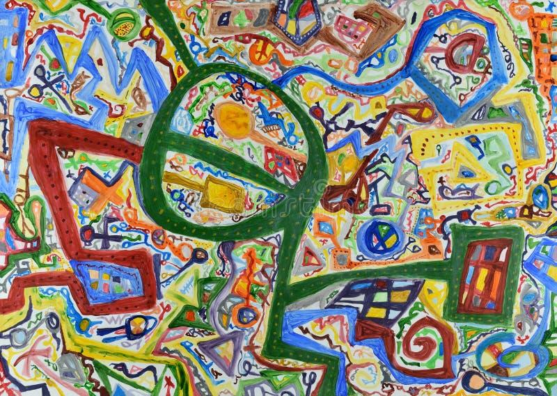 Linhas coloridas abstratas fundo pintado à mão ilustração stock