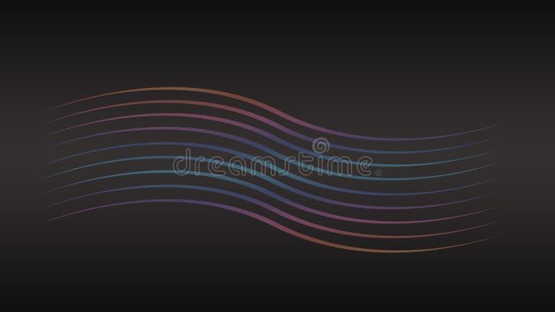 Linhas coloridas abstratas fundos da onda Linhas geométricas no fundo preto Linha contexto da onda imagens de stock royalty free