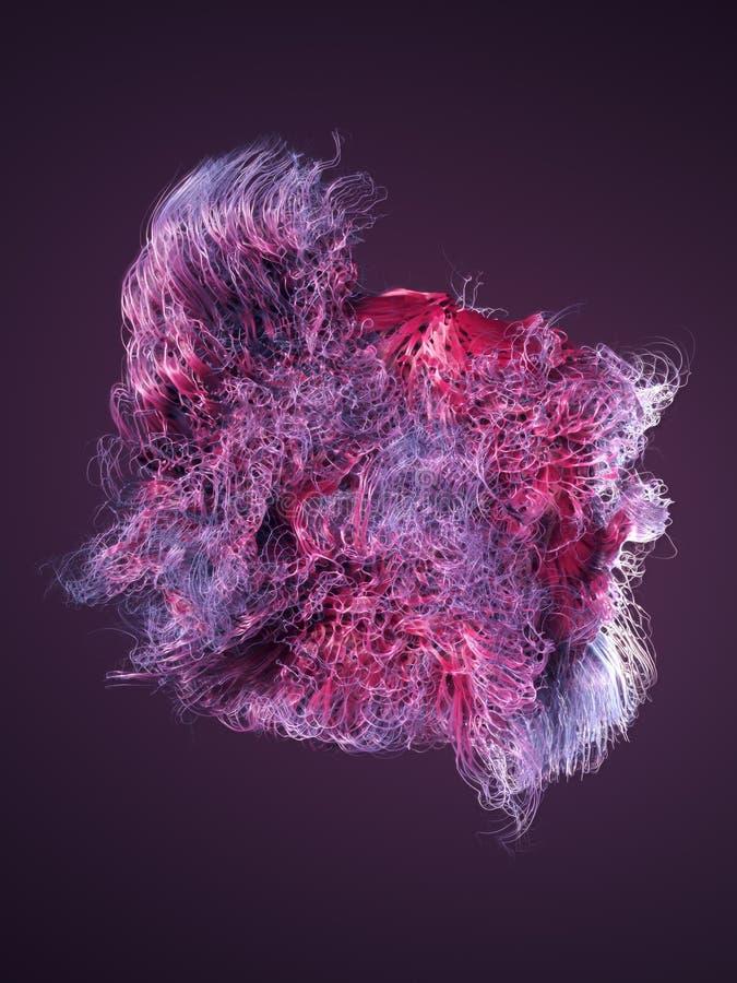 Linhas coloridas do sumário do fluxo do ruído da onda rendição 3d ilustração royalty free