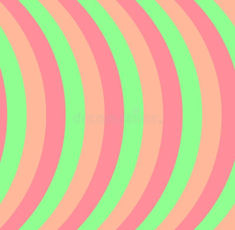Linhas cor-de-rosa alaranjadas vetor abstrato geométrico curvy das listras do pêssego verde do fundo ilustração do vetor