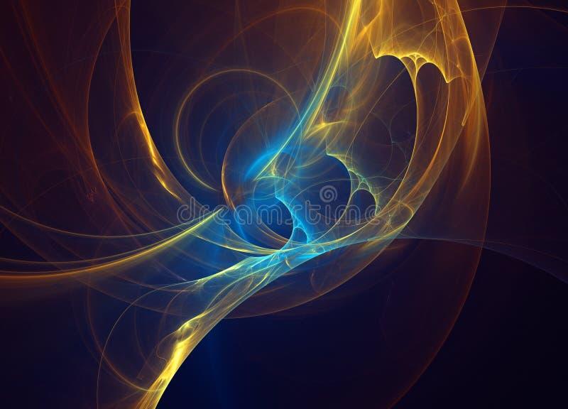 Linhas curvadas azuis alaranjadas de incandescência sobre o universo abstrato escuro do espaço do fundo Ilustração ilustração stock